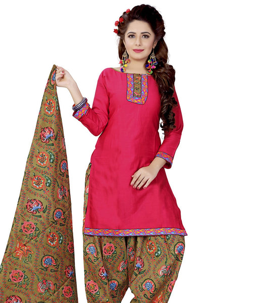 Minu Suits Dark Pink Cotton Salwar Suits Sets Dress Material Freesize,Satinpatyala_6002