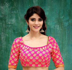 Manvi Fashion Pink Color Embroidery Work Two Ton Silk in Fabric Party Wear Readymade Blouse $ MF 3116