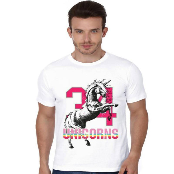 Partum Corde Premium Men's Modern Fit Round Neck T shirt UNICORNS $ UNICORNS1179