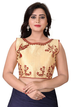 YOYO Fashion Beige Malbari Embriodered Extra Sleeve With Blouse $ YOYO1-BL4009