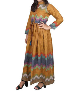 Libas Closet Fashion Printed Designer Cotton Yellow Color Western wear A-Line Dress for Women/Girls- Latest Bollywood Readymade Western Dress Collection (Full Stiched) $ Libas Closet-022