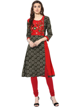 Mytri Women's Green & Red Cambric Embroidered A-Line Kurta $ 9000499-GREENRED
