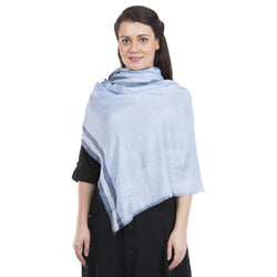 La Vastraa's Silver Zari Border Blue Modal Silk Stole for Women-TKS163