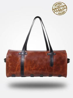 Strutt Unisex The Brown and Black Leather Trendy Duffle $ SMD538