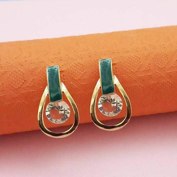 Tanishka Fashion Gold Plated green Meenakari Austrian Stone Stud Earrings $ 1312859D