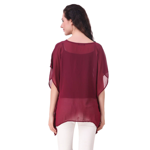 Fame 16 Printed Women'S Round Neck Maroon Georgette Flared Solid Kaftans $ F16-1600178