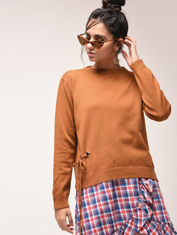 Aiyra Brown Color crew neck eyelet lace up sweatshirt $ AR15900916