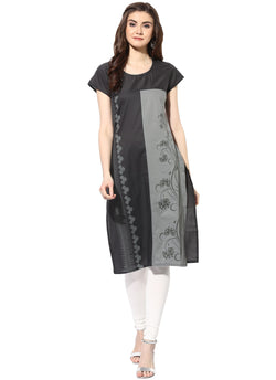 Mytri Women's Grey Cambric Printed Straight Kurta $ 9000481-GREY