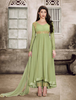 YOYO Fashion Georgette Anarkali Semi-Stitched salwar suit $ F1135-Green
