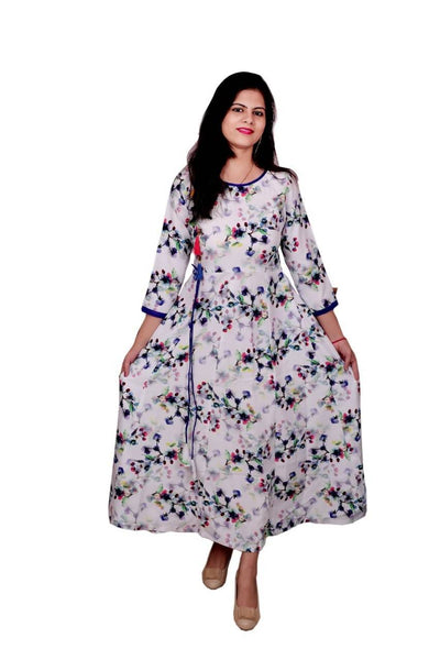 Libas Cotton Dress/Long Dress/Maxi Dress/Long Kurti,Angrakha Style Pure Muslin Fabric Long Kurti 3/4 Sleeves $ Libas-060