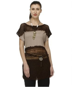 Glam a gal brown and mauve taupe tunic with necklace