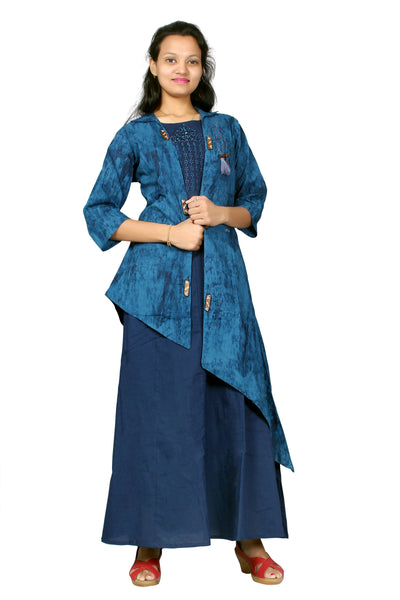 MV FASHION Cotton Embroidered Navy Blue Gown with Slug $ MV_G_1206