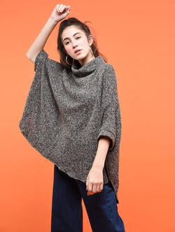 Aiyra Grey Color wollen turtle neck asymmetric poncho $ AR15800307_free size