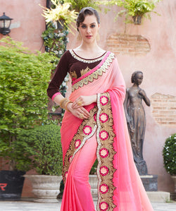 Fashion FizaPink Georgette EMBROIDERY Saree with blause pice