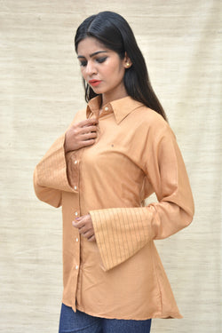 Fawn Khadi Silk Shirt Collar Top $ IWK-000268