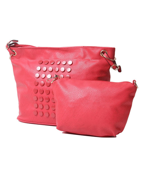 Fiona Trends Red PU Shoulder Bag,6007_RED
