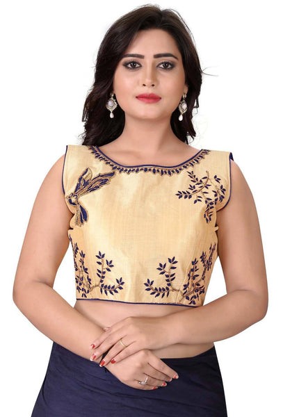 YOYO Fashion Beige Malbari Embriodered Extra Sleeve With Blouse $ YOYO1-BL4009-Navy Blue