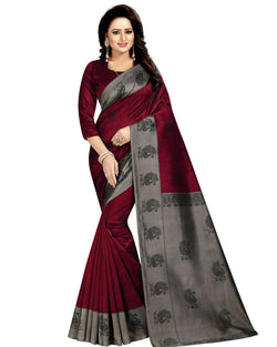 Muta Fashions Women's Unstitched Art Silk Red Saree $ MUTA1408