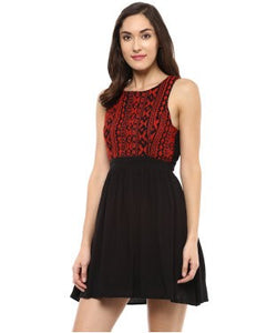 Miway Black Embroidered Skater Dress
