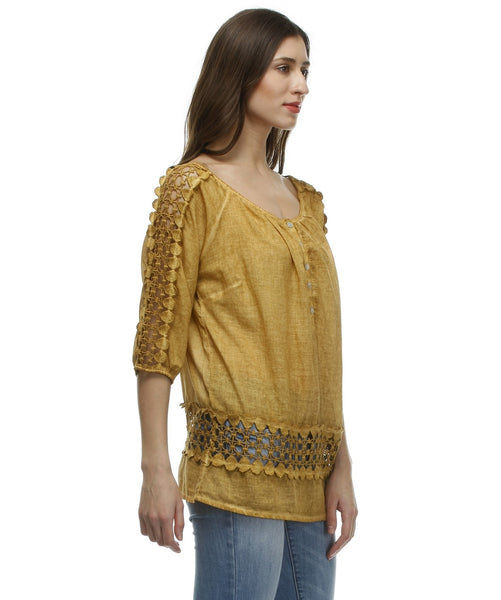 Glam a gal mustard 3/4 sleeve top