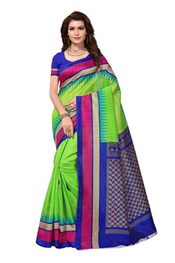 16TO60TRENDZ Green Color Printed Bhagalpuri Silk Saree $ SVT00445