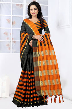 YOYO Fashion Latest Fancy Ora Dhupian Orange  Saree $ SARI_2580 Orange