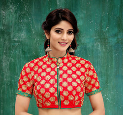 Manvi Fashion Red Color Embroidery Work Two Ton Silk in Fabric Party Wear Readymade Blouse $ MF 3119