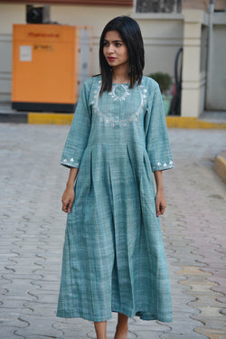 Turquoise Maxi Kurta in Traditional Gotta Patti $ IWK-000670