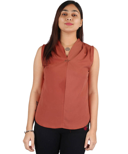 Fashion Tiara Women's Rust Polyester Tops $ FTT157