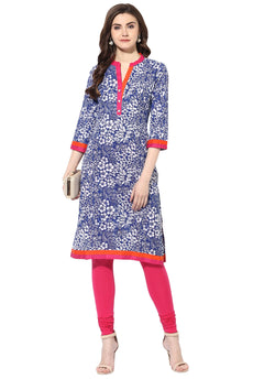 AANVI Women's Blue Cotton Printed Straight Kurta $ 7000005-BLUE