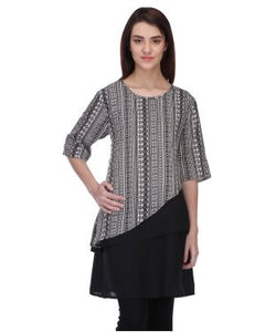 Blue Lotus Black And White Tunic