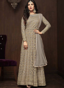 YOYO Fashion Grey Net Anarkali Semi-Stitched Salwar Suit With Dupatta $ F1283
