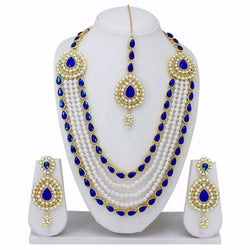 Gold Plated Alloy Metal Hand Crafted Work Women's Blue Chhagan Necklace Set $ AF788618