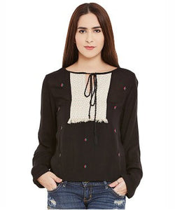 Miway Black Viscose Crepe Top