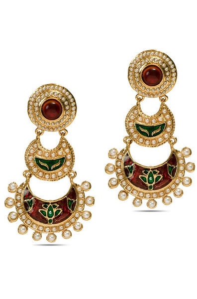 Crimson Crescent Earrings - JBBDEAR1583