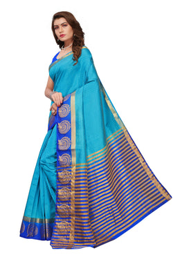 16to60trendz Blue Tusar Silk Handloom Art Work Kanjivaram saree $ SVT00021