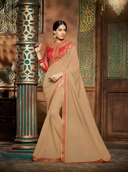 Umang NX Beige Georgette Designer Embroidery Sarees $ UN5847
