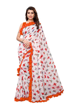 YOYO Fashion Georgette Printed Ruffle Saree $ YO-SARI2656-Orange