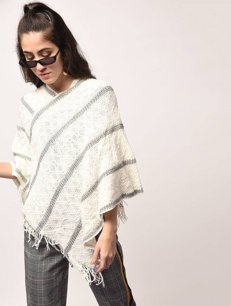 Aiyra White Color wollen Fringed Hem Knitted Poncho $ AR15801880_free size