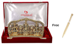 Gold Plated Laxmi Ganesh Sarswati God Idol Murti with Red Velvet Box Packing (16 cm, Gold) Gold Plated Ball Pen Amount - 250 Free Gift Inside This Box Limited Stock Available Soon $ GSI-154