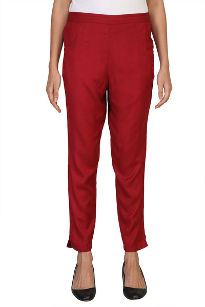 Vaniya Women Pant Cotton Rayon Red Straight Pant $ VN-PT105