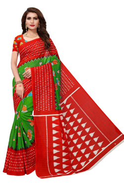 16TO60TRENDZ Red Color Printed Bhagalpuri Silk Saree $ SVT00457