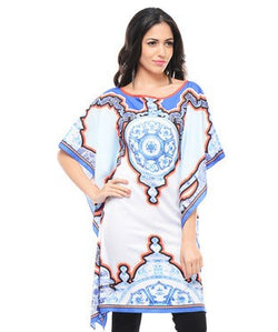 Printed Poncho With Tassels