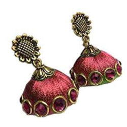 Ailsie Stylish Jhumka Earrings For Women Fashion Beautiful Sliver Antique Flower Design Silk Thread Earring - Red
