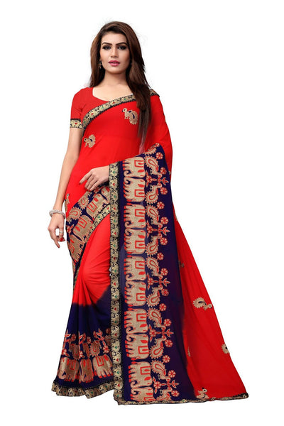 YOYO Fashion Embroidered Georgette Red Saree With Blouse $ SARI2614-Red