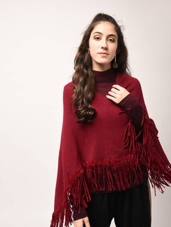 Aiyra Red Color wollen Fringed Edge V-Neck Poncho $ AR15800330_free size