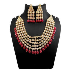 Tanishka Fashions Beads Stone Copper Necklace Set