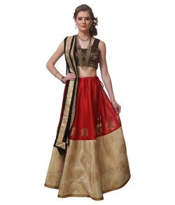 Muta Fashions Women's Semi Stitched Taffeta Silk Red Lehenga $ LEHENGA31