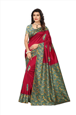 BL Enterprise Women's Bhagalpuri Cotton Silk Kalamkari Red Color Saree With Blouse Piece $ BLLB-38