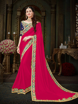 Fashion Zonez Zari Embroidered with lace border Georgette Pink Designer Saree With Blouse $FZ 2001